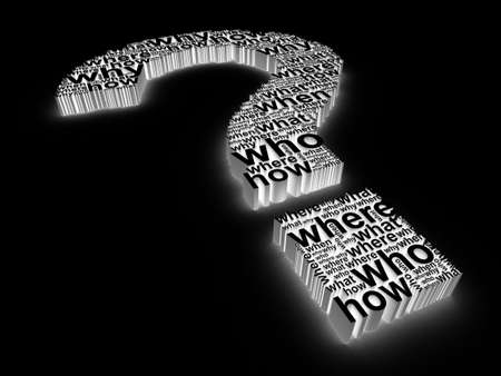 3d question mark made up of words on a black background photo