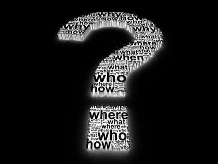 answer question: 3D punto interrogativo, compiuto di parole su sfondo nero