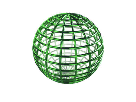 Shiny green 3d wire-frame sphere on a white background Stock Photo - 6588099