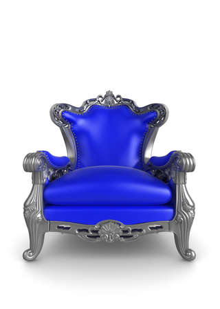 royal background: 3d illustration of a blue and silver antique armchair