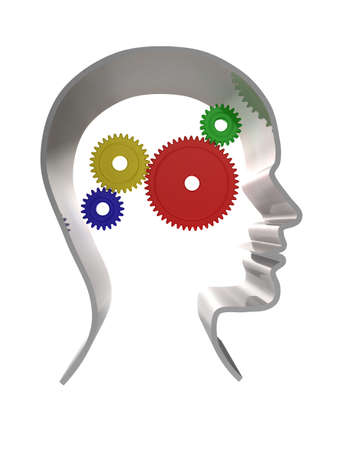 3d illustration of a human head outline with cogs/gears inside Standard-Bild