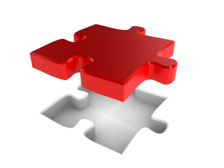 The missing piece of a jigsaw puzzle, fitting into place Stock Photo - 6618782