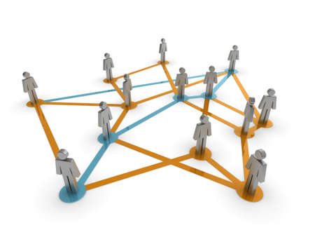 representing: Illustration representing a network of connected people on a white background