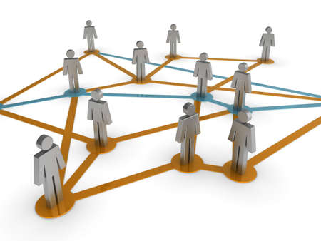 Illustration representing a network of connected people on a white background Stock Illustration - 6618786