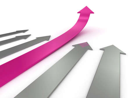 Illustration of a pink arrow, ahead of the competition. Could be used to represent success, growth, statistics etc.