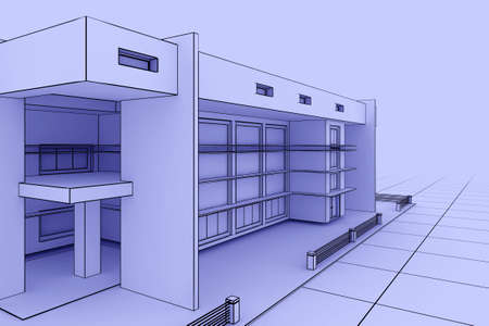 3d illustration of a modern house design in a blueprint style illustration