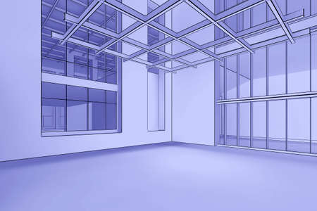 3d illustration of a modern, empty interior in a blueprint style illustration