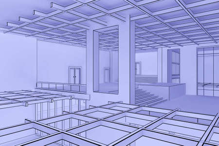 Illustration of a modern interior in a blueprint style illustration