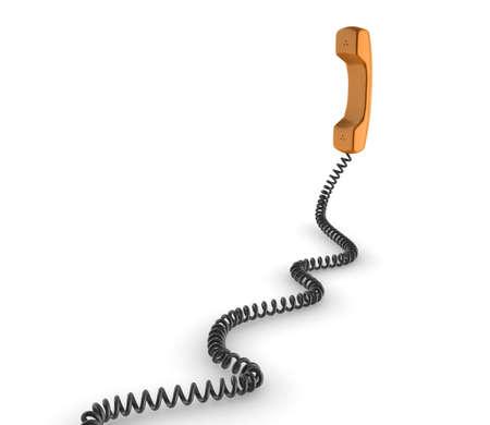 Shiny orange phone illustration with black cord, isolated on a white background. Standard-Bild