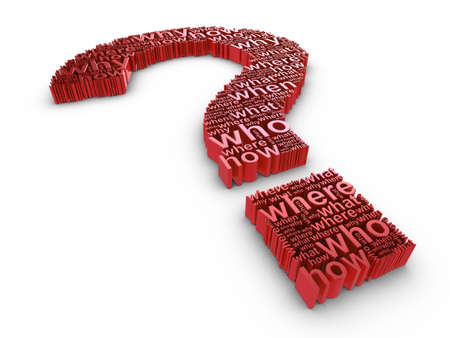 Red 3d question mark made up of words on a white background Stock Photo - 6686332