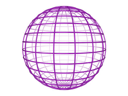 Illustration of a purple 3d wireframe sphere, on a white background Stock Illustration - 6686319