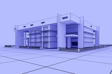 3d Modern house design in a blueprint style photo