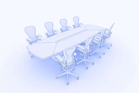 Illustration fo a boardroom, or meeting table in a blueprintsketch style illustration