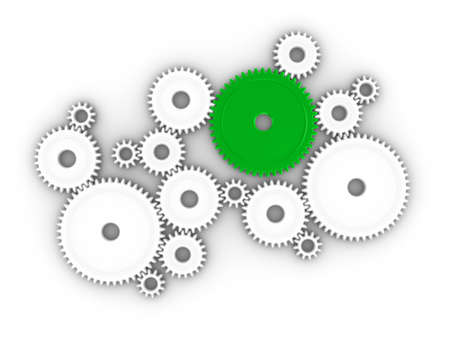 3d illustration of many cogs/gears working together Standard-Bild