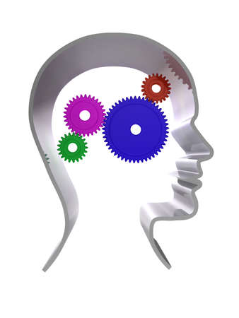 3d illustration of a human head outline with cogs/gears inside Stock Illustration - 6860524