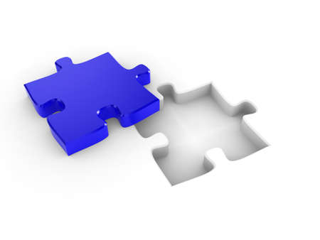 The missing piece of a puzzle, fitting into place Stock Photo - 6860528