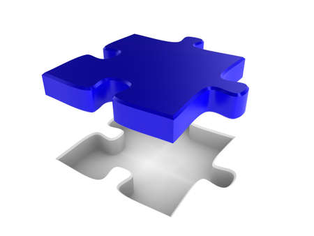 The missing piece of a jigsaw puzzle, fitting into place Stock Photo - 6860507