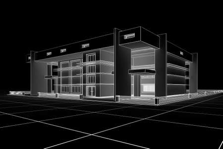 3d Modern house design in a blueprint style