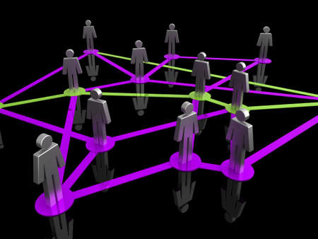Illustration representing a network of connected people on a black background Stock Illustration - 6860540