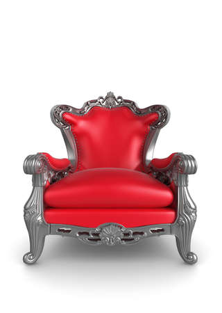 red chair: 3d illustration of a red and silver antique armchair