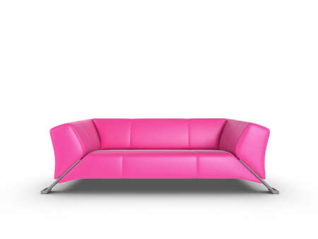 divan sofa: Pink 3d sofa, isolated on a white background