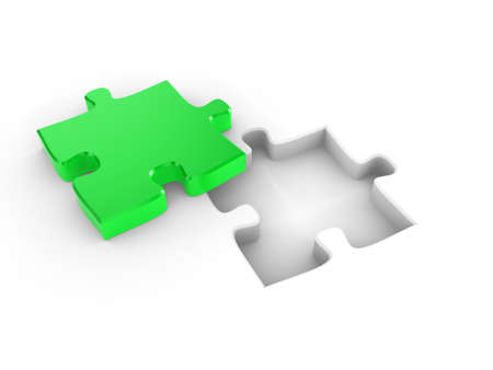 The missing piece of a puzzle, fitting into place Stock Photo - 7133565