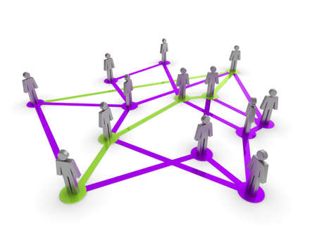 Illustration representing a network of connected people on a white background Stock Illustration - 7133571