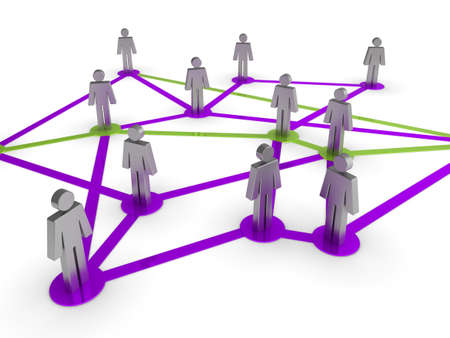 linked hands: Illustration representing a network of connected people on a white background