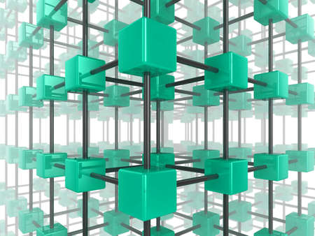 High quality illustration of a network of glossy turquoise green cubes, connected by a wire frame Stock Illustration - 7133578