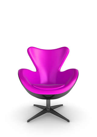 3d Illustration of a stylish pink chair, on a white background Stock Illustration - 7133573
