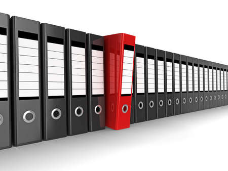 stack of documents: A row of files, with one red one standing out from the others