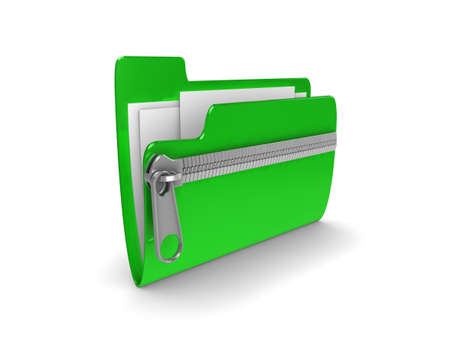 zipped: 3d illustration representing a zipped or compressed folder of documents
