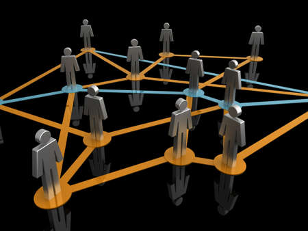 Illustration representing a network of connected people on a black background Stock Illustration - 7259653