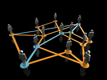 Illustration representing a network of connected people on a black background Stock Illustration - 7259643