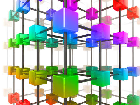 High quality illustration of a network of glossy multi colored cubes, connected by a wire frame Stock Illustration - 7259654