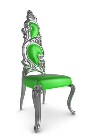 Green and silver classic antique armchair photo