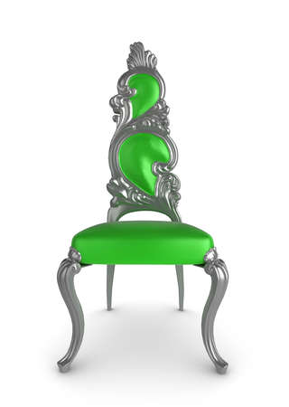 antique chair: Greensilver antique chair on a white background
