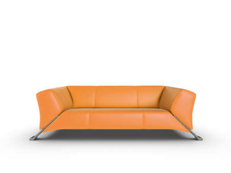 Orange 3d sofa, isolated on a white background Stock Photo - 7711523