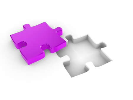 The missing piece of a puzzle, fitting into place Stock Photo - 7711534
