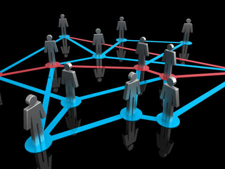 Illustration representing a network of connected people on a black background Stock Illustration - 7711533
