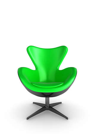 3d Illustration of a stylish green chair, on a white background Stock Illustration - 7711536