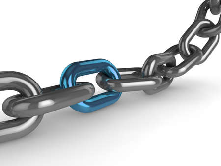 lock up: 3d illustration of a metail chain, with one blue stongest link Stock Photo