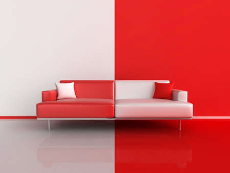 3d illustration of a contrasting sofa in red and white Stock Photo