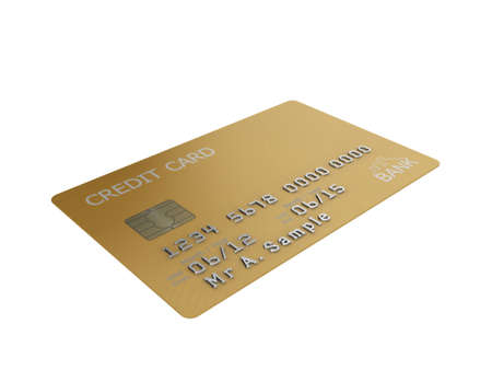 Realistic illustration of a gold credit card with fictional details, isolated on a white background. Stock Illustration - 8238782