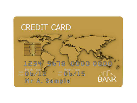 Realistic illustration of a gold credit card with fictional details, isolated on a white background. Stock Illustration - 8238786