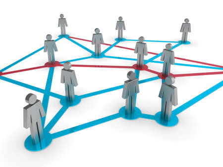 Illustration representing a network of connected people on a white background Stock Illustration - 8238801