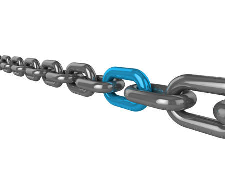 silver ring: 3d illustration of a chain, with one strong blue link standing out Stock Photo