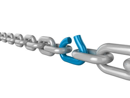 3d illustration of a chain, with one weak blue link about to break Stock Illustration - 8327292