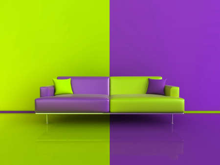 3d image of an unusual contasting sofawallfloor, in Purple and Green photo