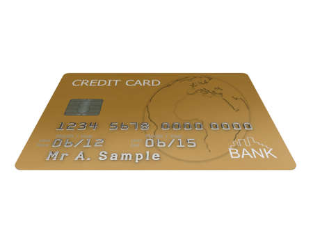 Realistic illustration of a gold credit card with fictional details, isolated on a white background. Stock Illustration - 8327293